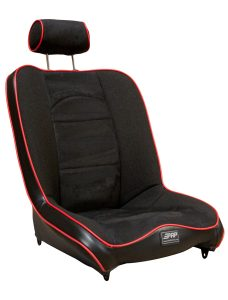 Daily driver suspension seat with adjustable headrest