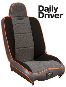 Daily Driver suspension seat in black, gray and orange