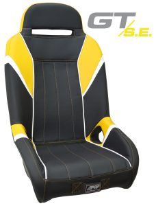 GT S.E. suspension seat in black, yellow and white.